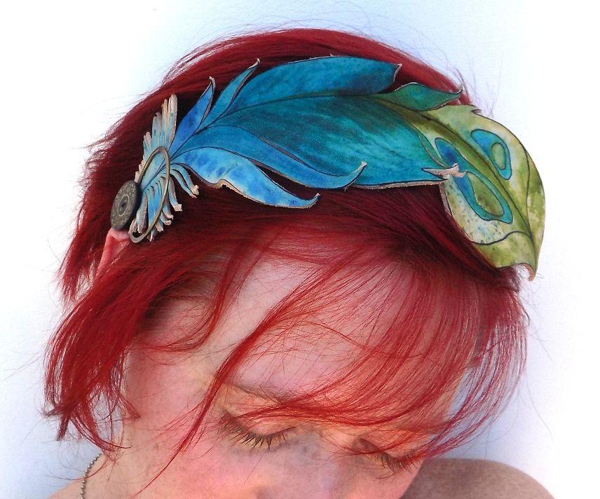 Hand Painted Leather Headband