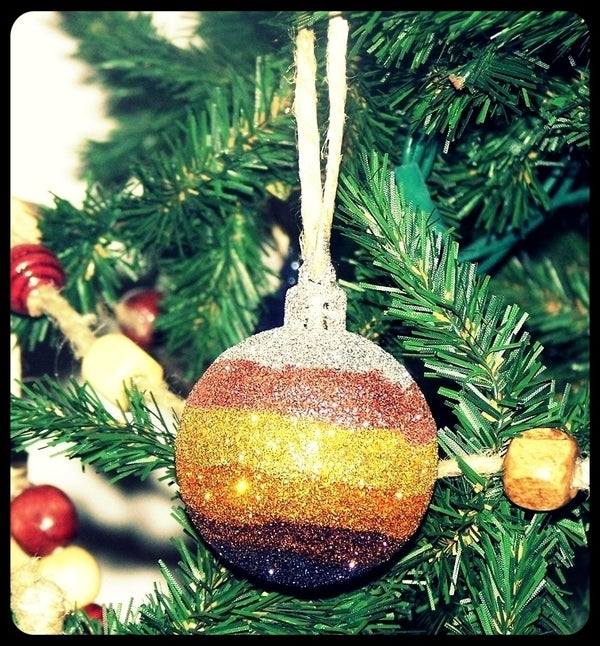 Glitter Striped Ornaments