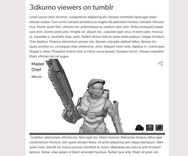 Embed 3DKUMO Viewers on Your Tumblr Blog.