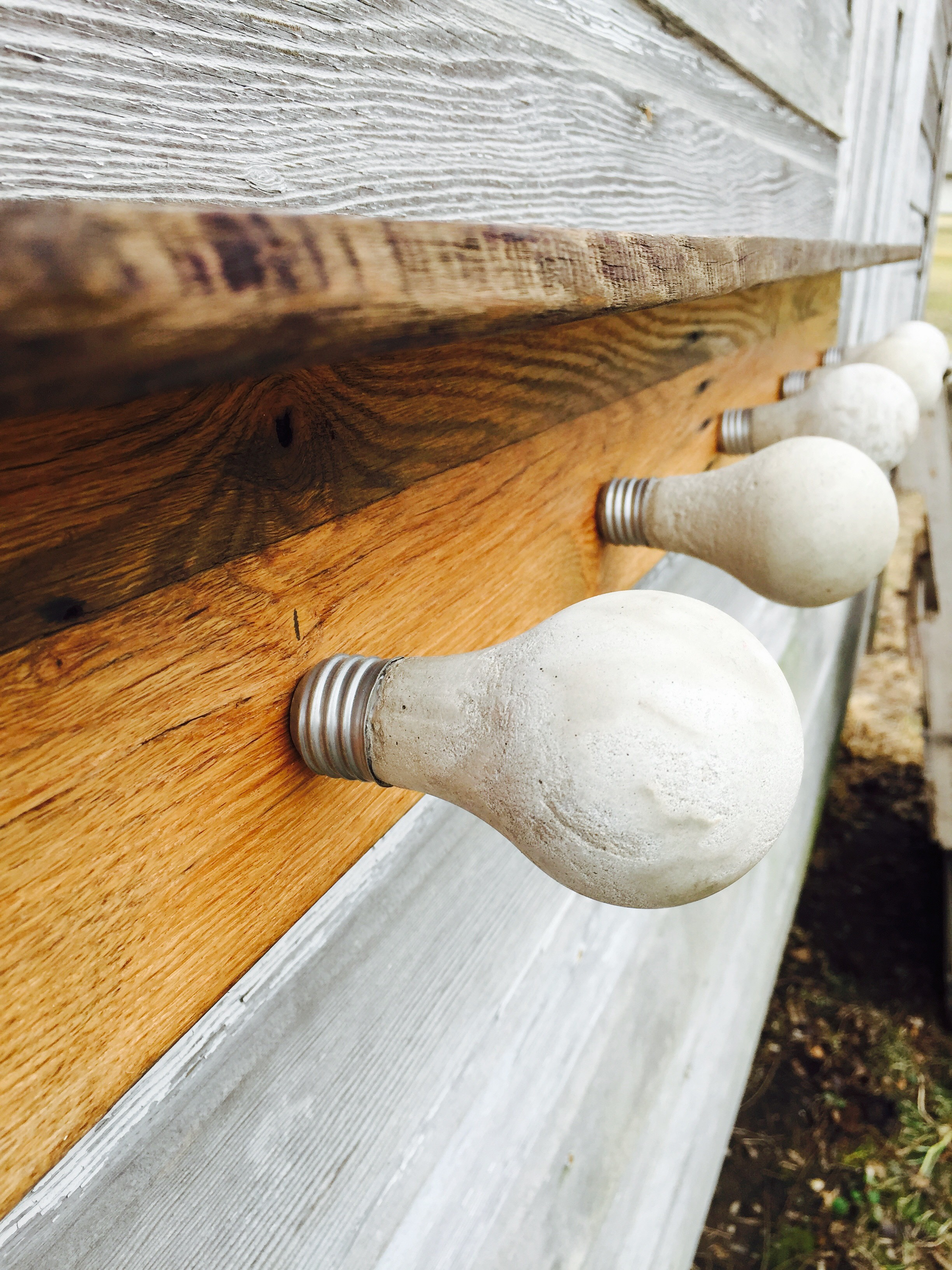 Concrete Light Bulb Coat Rack W/ Reclaimed Wood