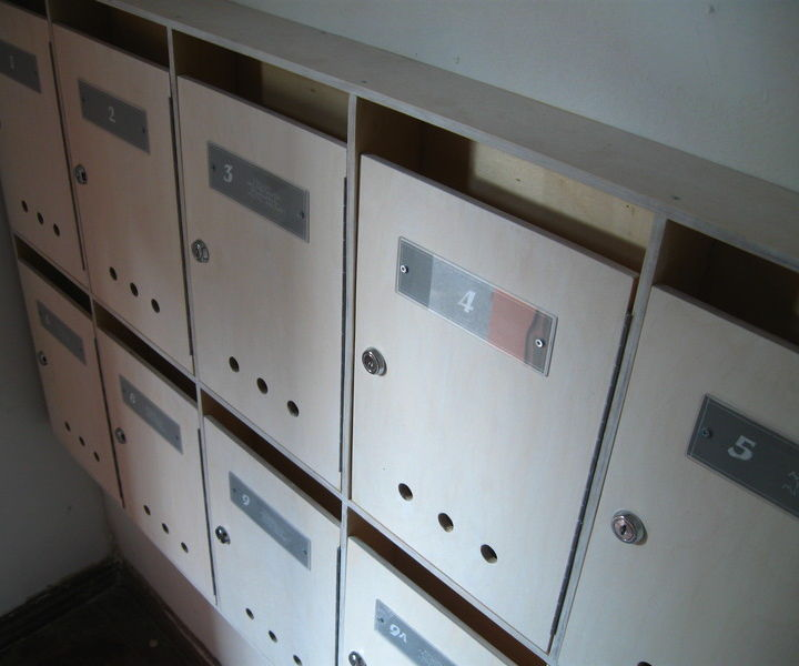 Plywood mailboxes for apartment building