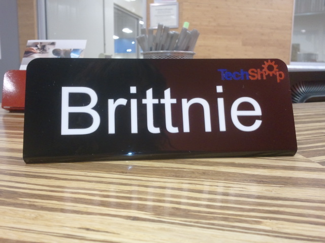 Laser Cut, Inlaid Name Plate at TechShop