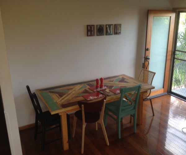 Rustic 6 Person Dining Table and Chairs Made From Pallets