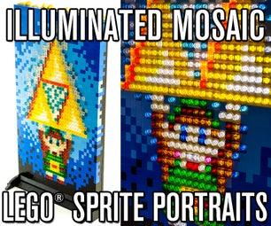 Illuminated Mosaic LEGO Sprite Portraits