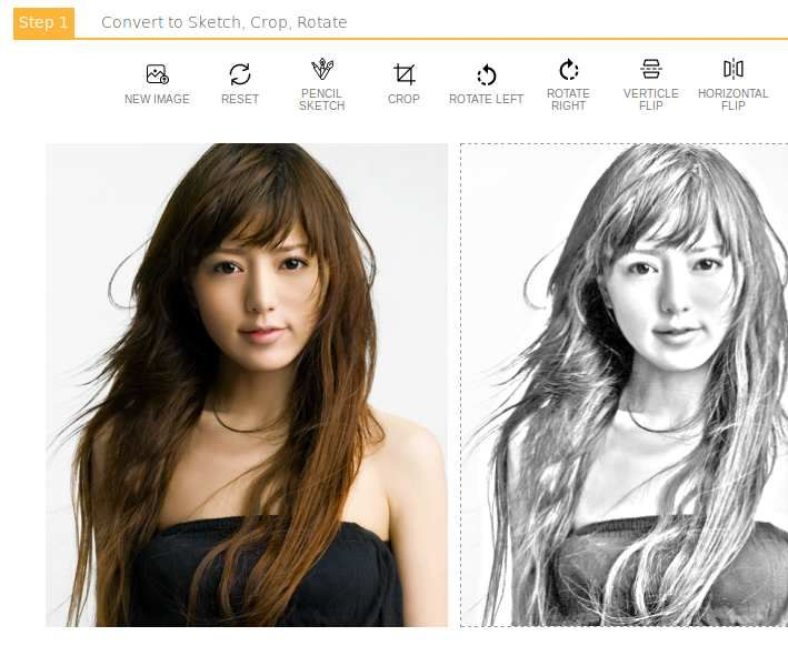 Online Photo to Pencil Sketch Drawing