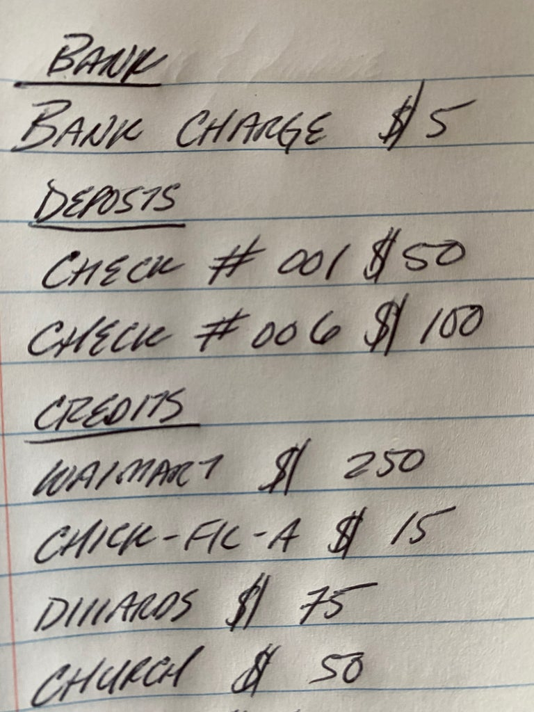Write Down Bank Charges
