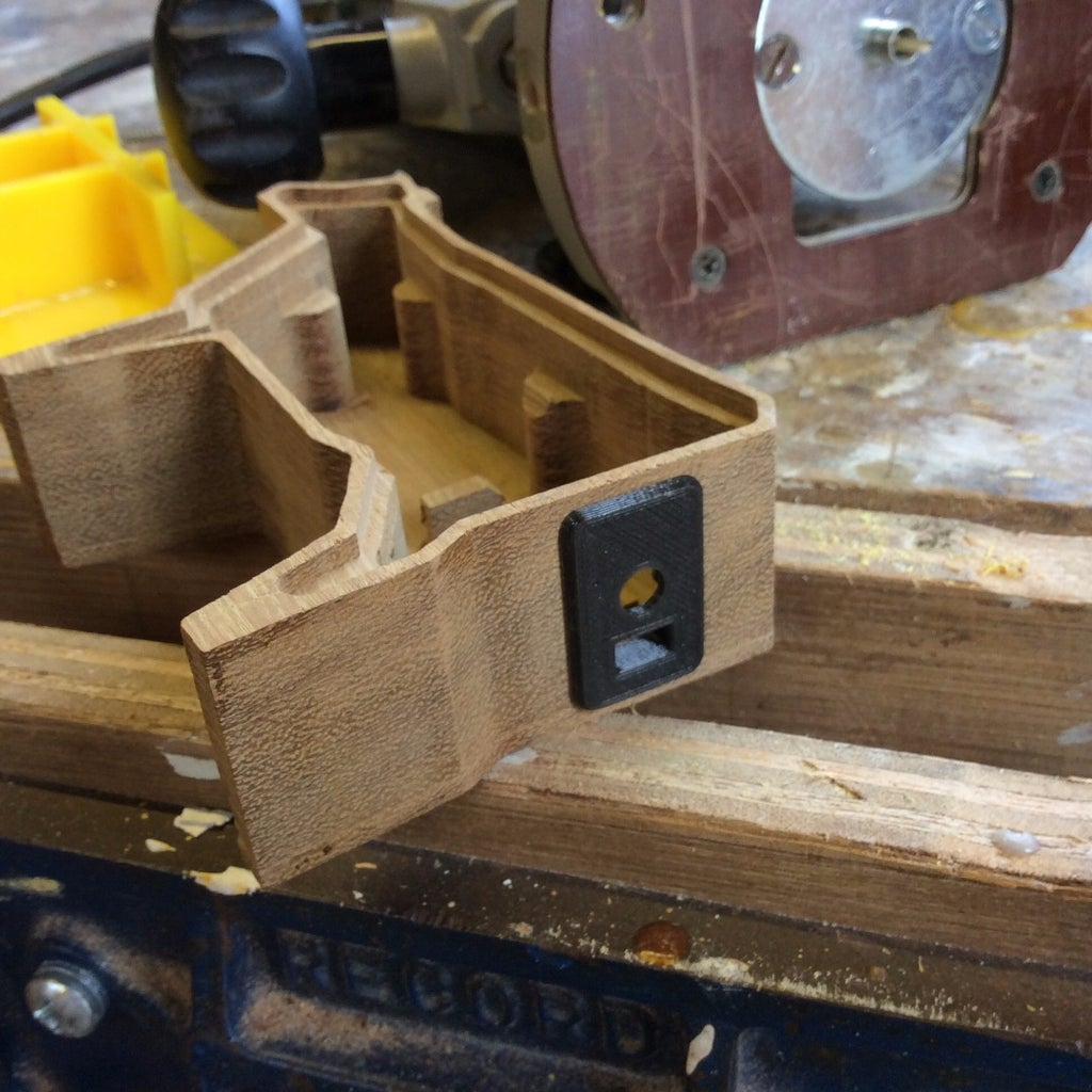 Routing a Hole in the Wood Case for the 3D Printed Panel.
