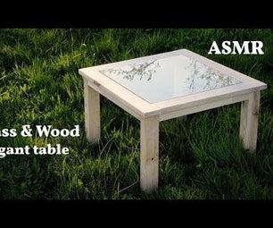 优雅的玻璃和木头桌子从屋顶的剩菜