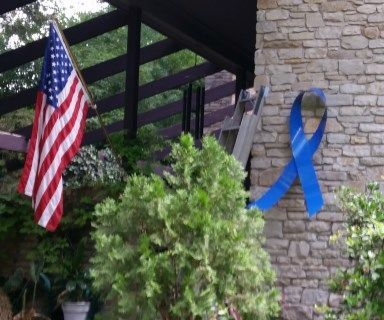 Make a giant Back the Blue (or other color) Awareness Ribbon