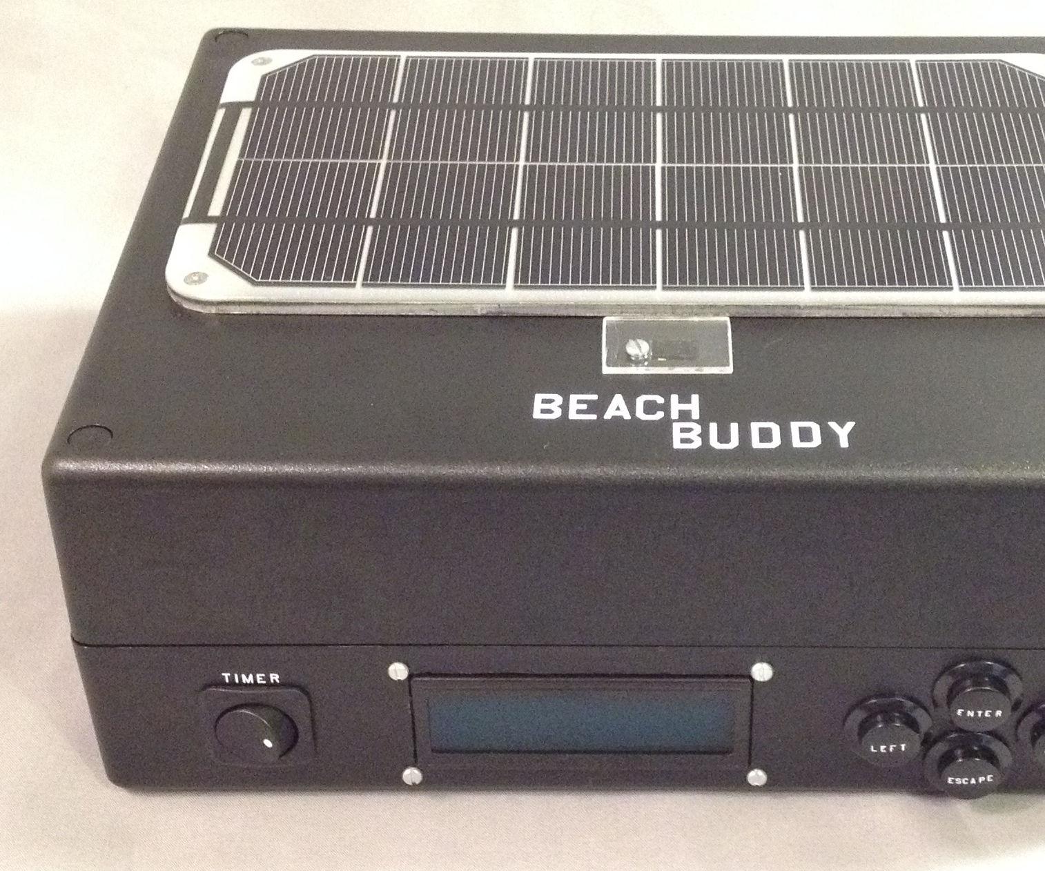 Beach Buddy: 3-in-1 Solar Phone Charger, Boombox, and Sunburn Timer Calculator
