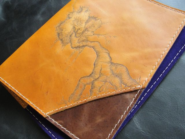 Leather Book Cover with Pyrography (Time Lapse Video)