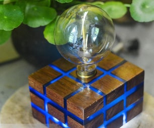 Tesseract - Reclaimed Wood Table Lamp and Night Lamp