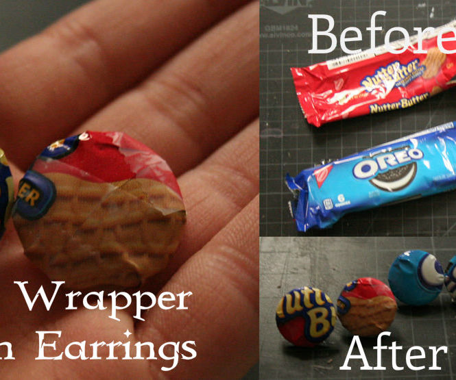 Candy / Food Wrapper Button Earrings