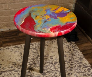 Acrylic Pour Painted Side Table