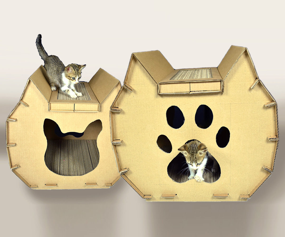DIY Cat House From Cardboard