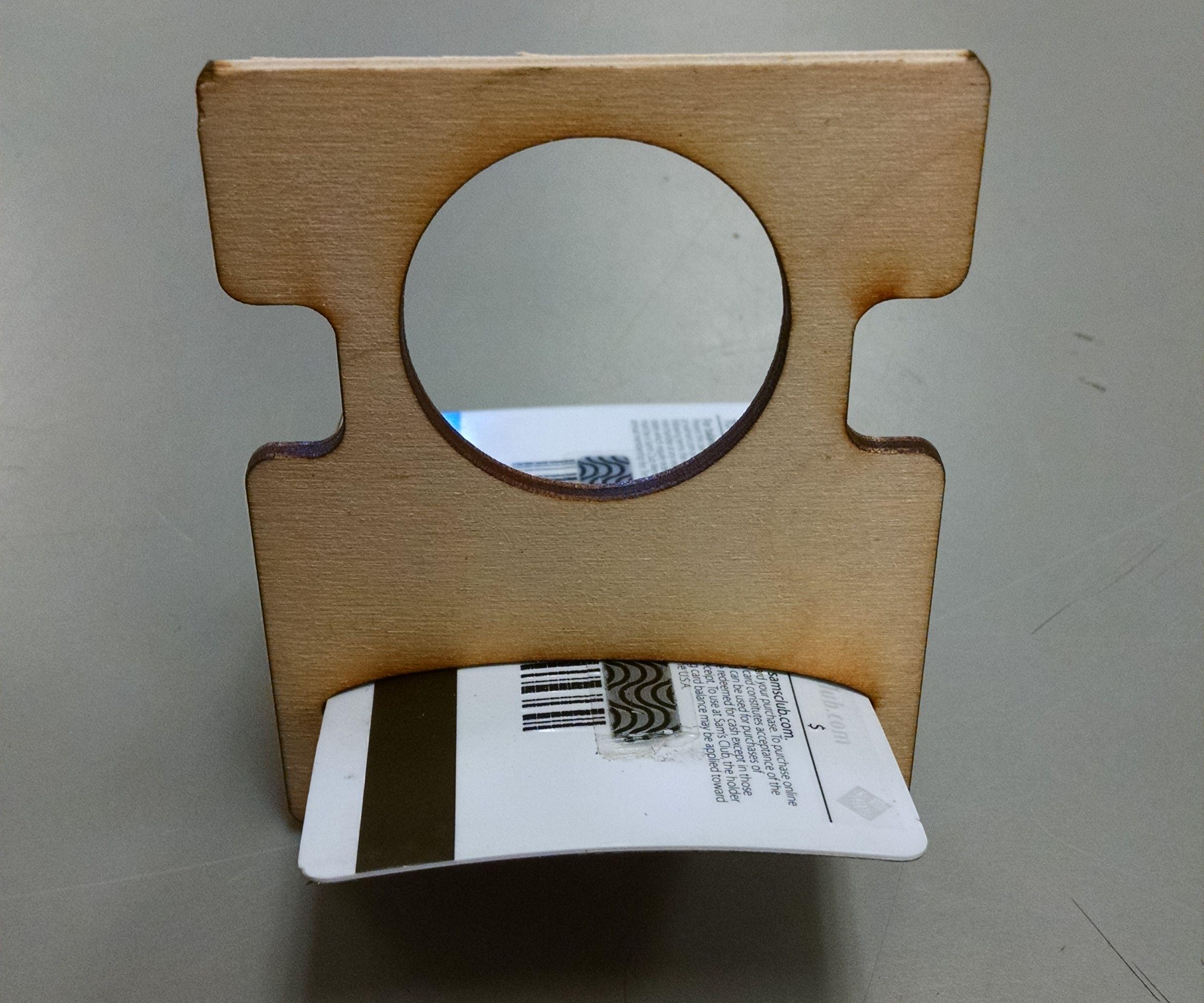 Credit card laser cut phone holder