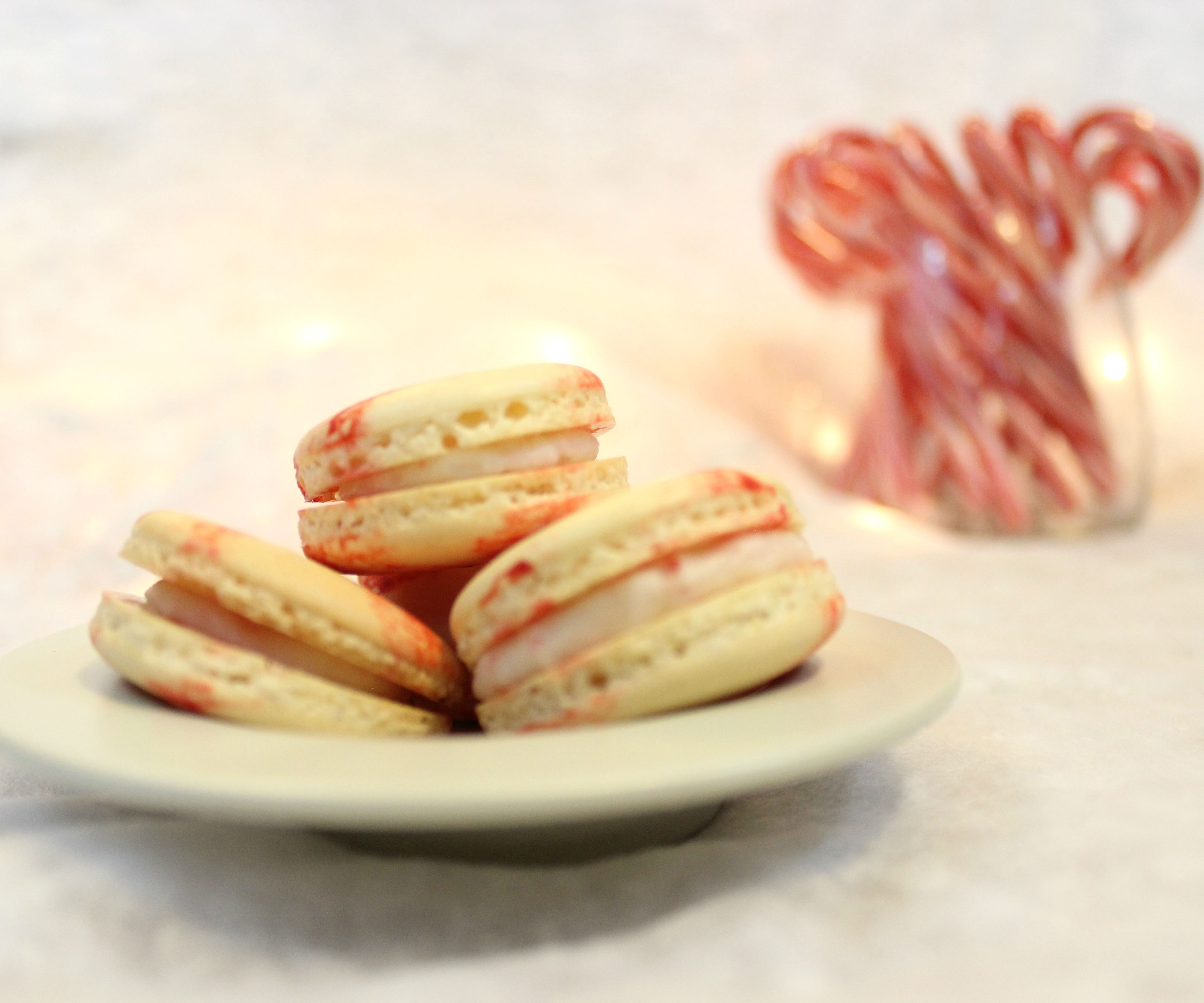 Peppermint Candy Macarons | Josh Pan