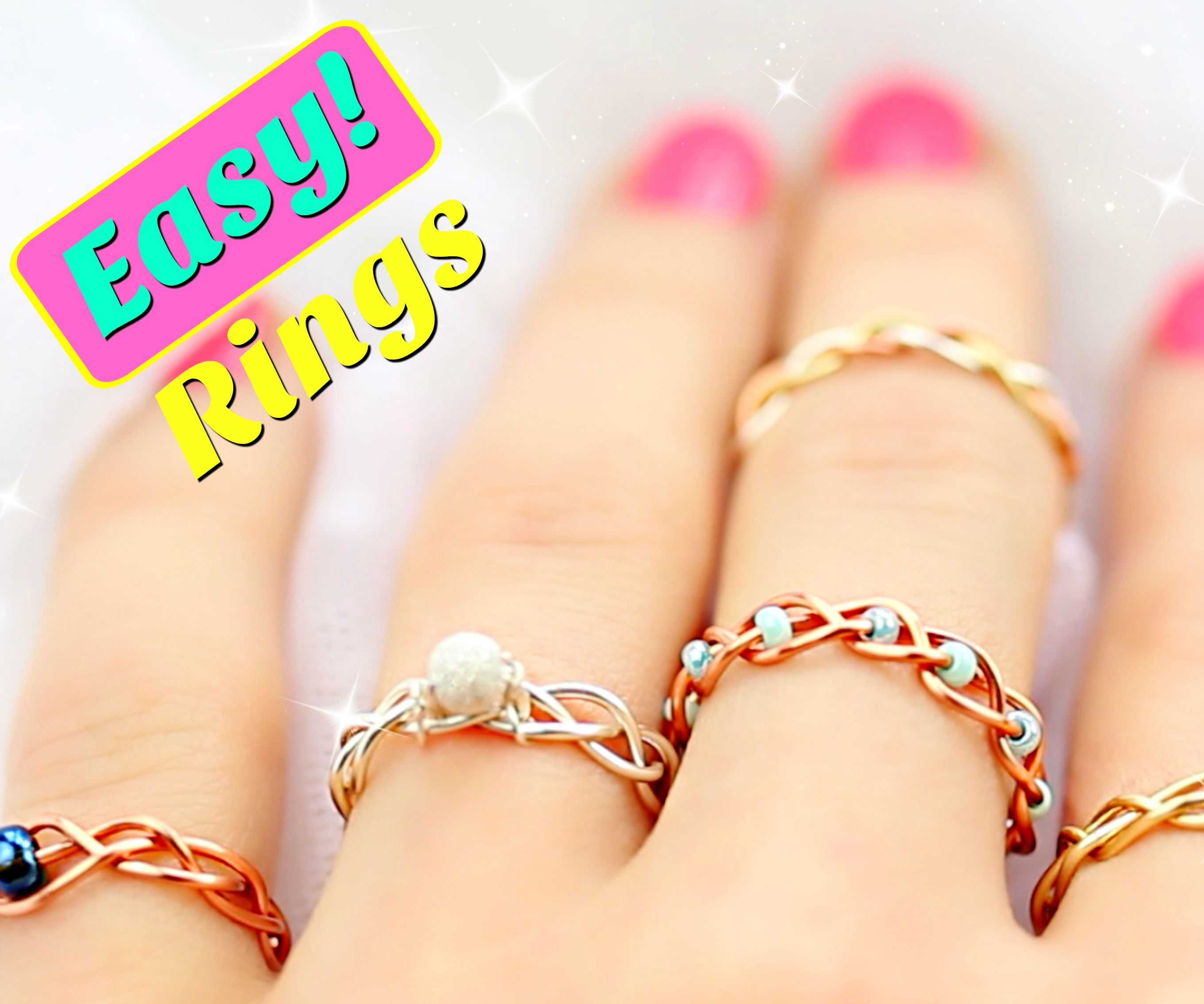 Jewelry Beads Wire-Wrapped Jewelry Colorful Rings Homemade Rings Multicolor Rings Colorful Jewelry Bead Wire-Wrapped Rings Multicolor