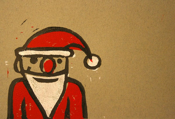 Santa Block Print Card by Noah