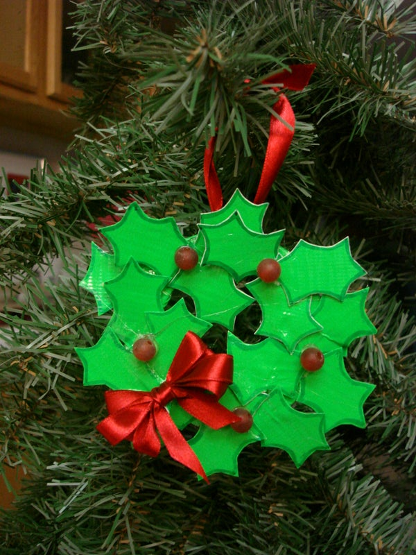 Wreath-shaped Ornament Out of Duct Tape
