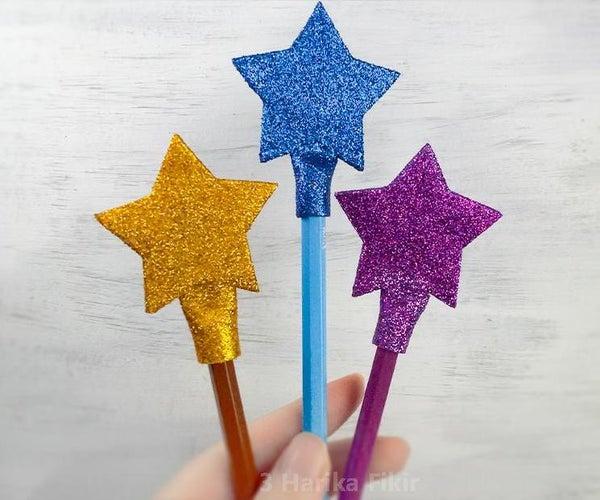 Diy Glitter Star Pencil Decoration