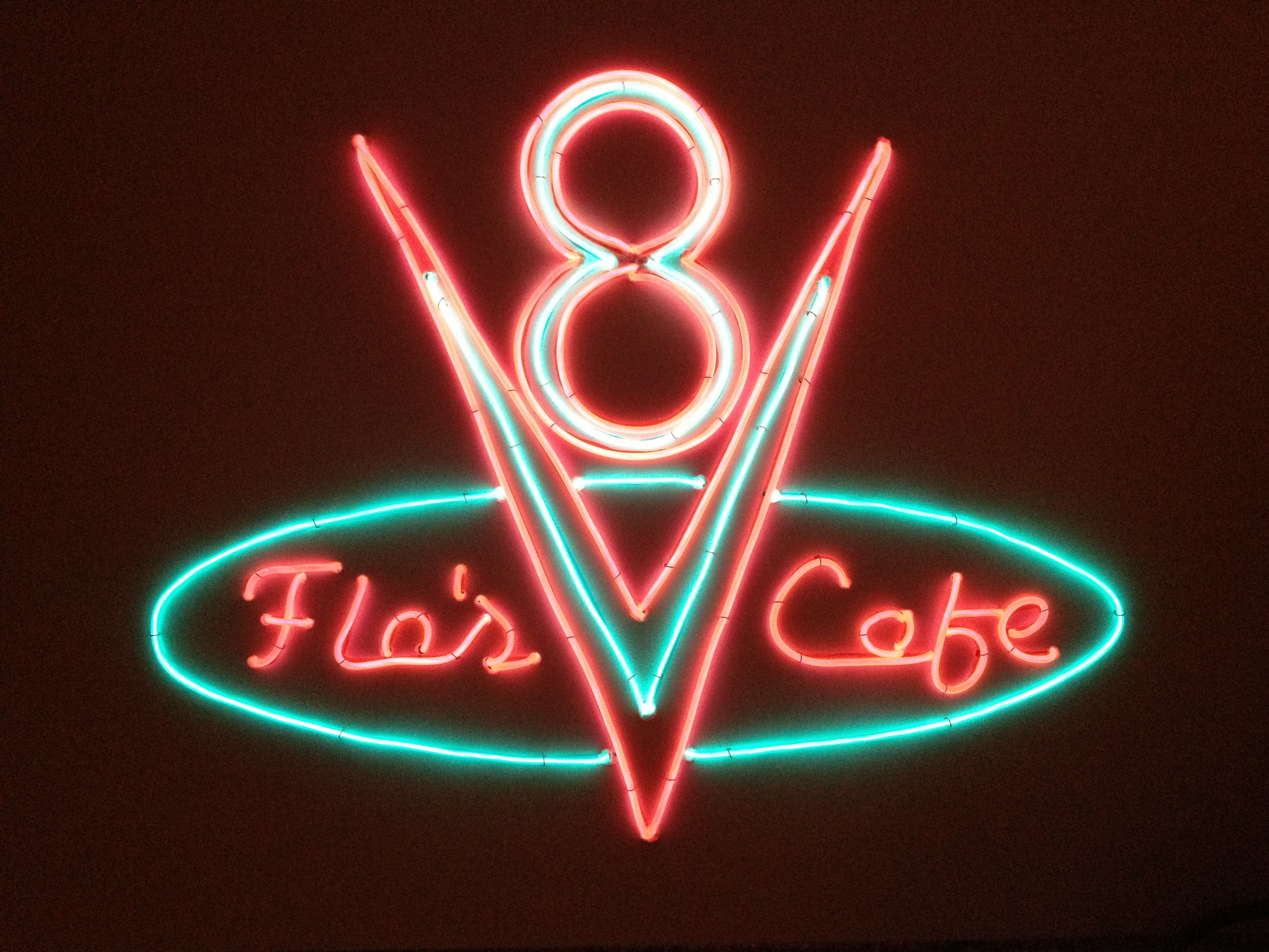 Flo's V8 Cafe sign