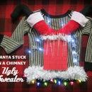 Santa Stuck in Chimney Ugly Sweater