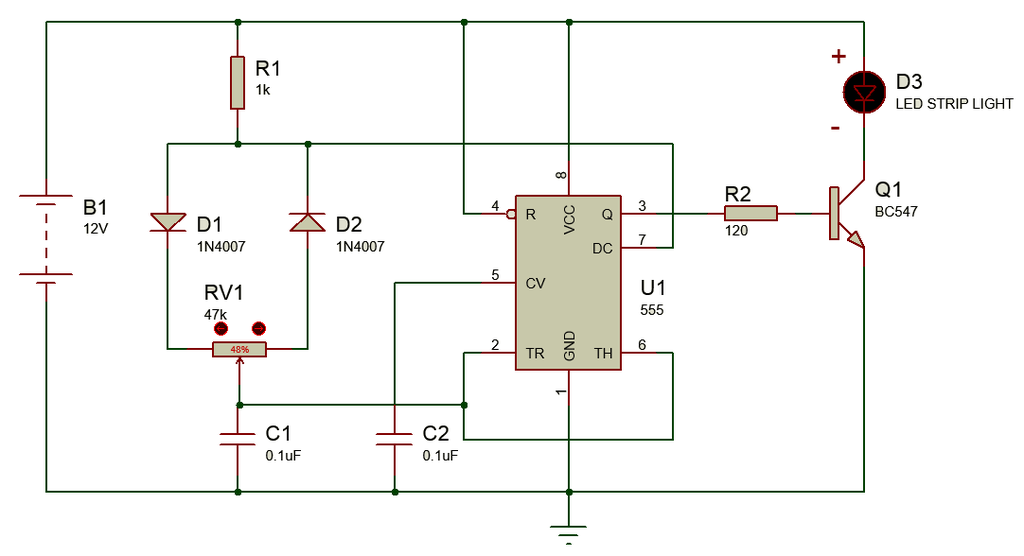 simple  easy dimmer circuit using 555 ic for led strip