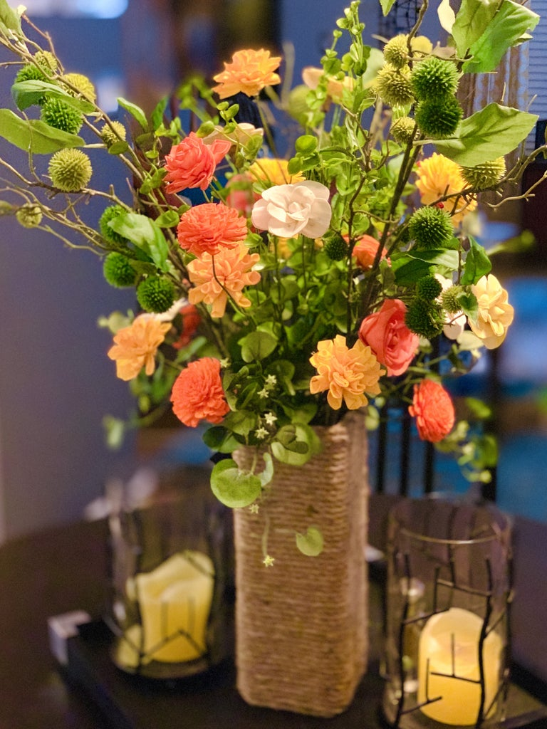 Make a Beautiful Sola Flower Arrangement and Rope-Wrapped Vase