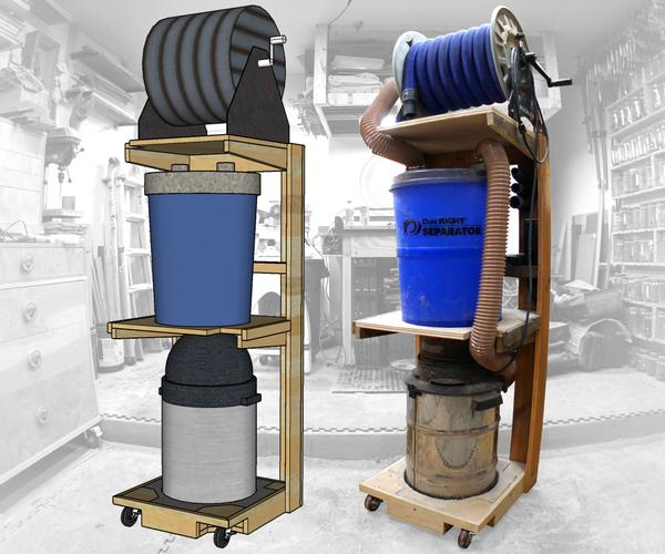 Space Saving Shop-Vac Dust Collector Cart