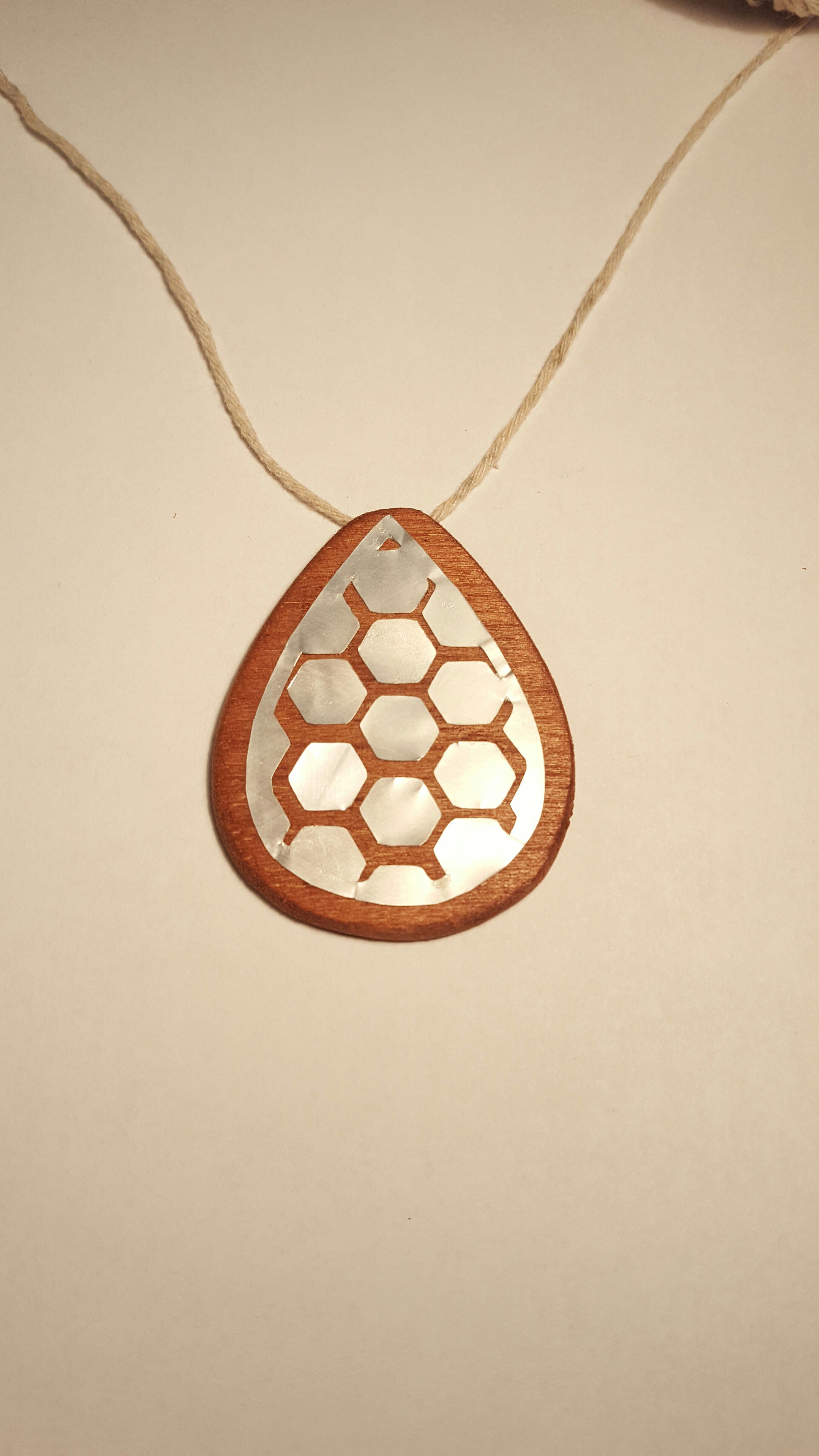 Honeycomb Metal & Wood Pendant