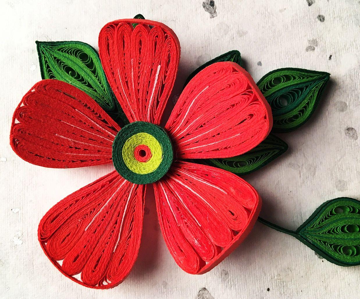 Quilled hibiscus flower