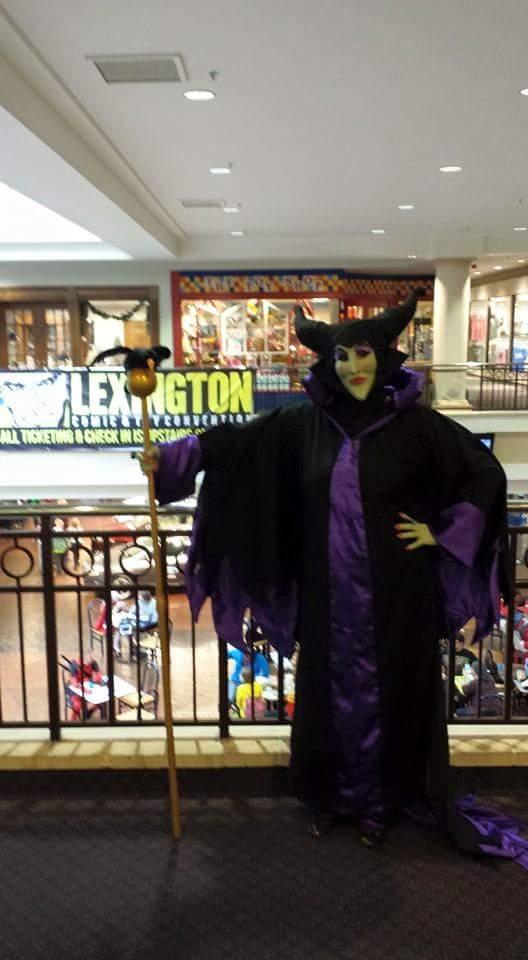 Maleficent Costume Dress, Staff and Mask