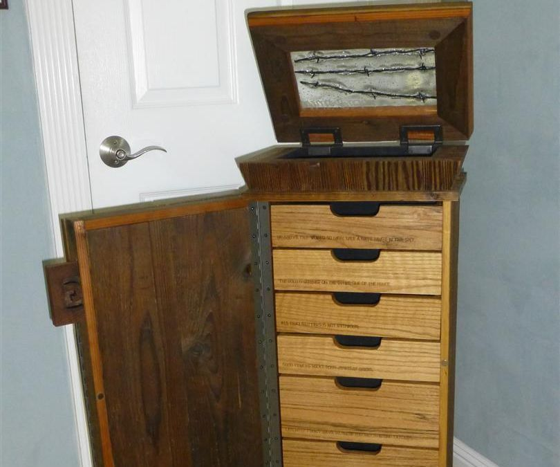 Reclaimed wood jewelry chest with fused glass window