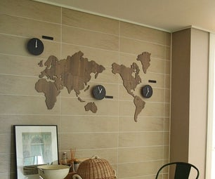 World Map Clock Diy Decoration Kit