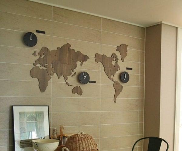 World Map Clock Diy Decoration Kit