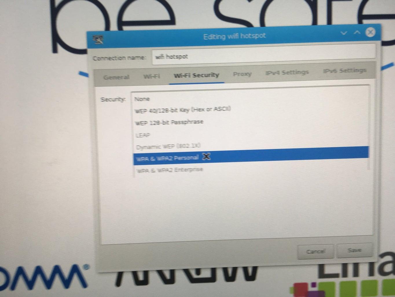 "Wifi Security Select ""WPA & WPA2 Personal""."