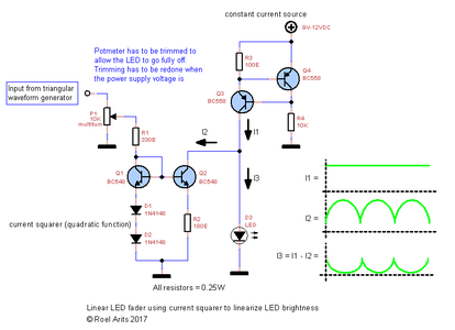 Schematic3 - Open Loop LED Fader Circuit Using Current Squarer