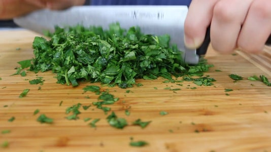 Chop Cilantro and Add to Mixture With Lime Juice