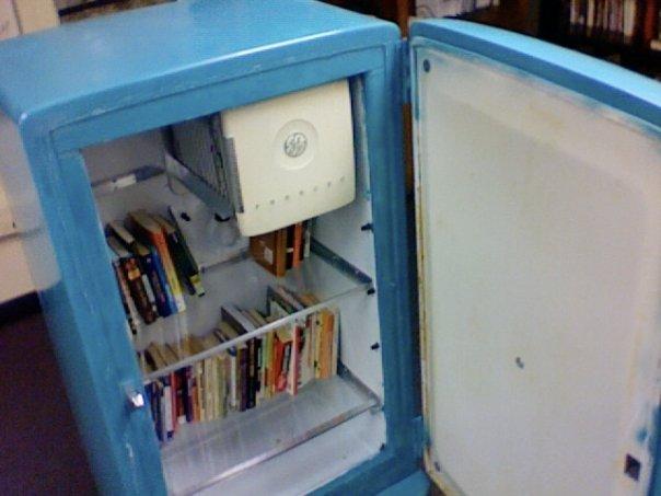 Convert an antique fridge into bookshelves