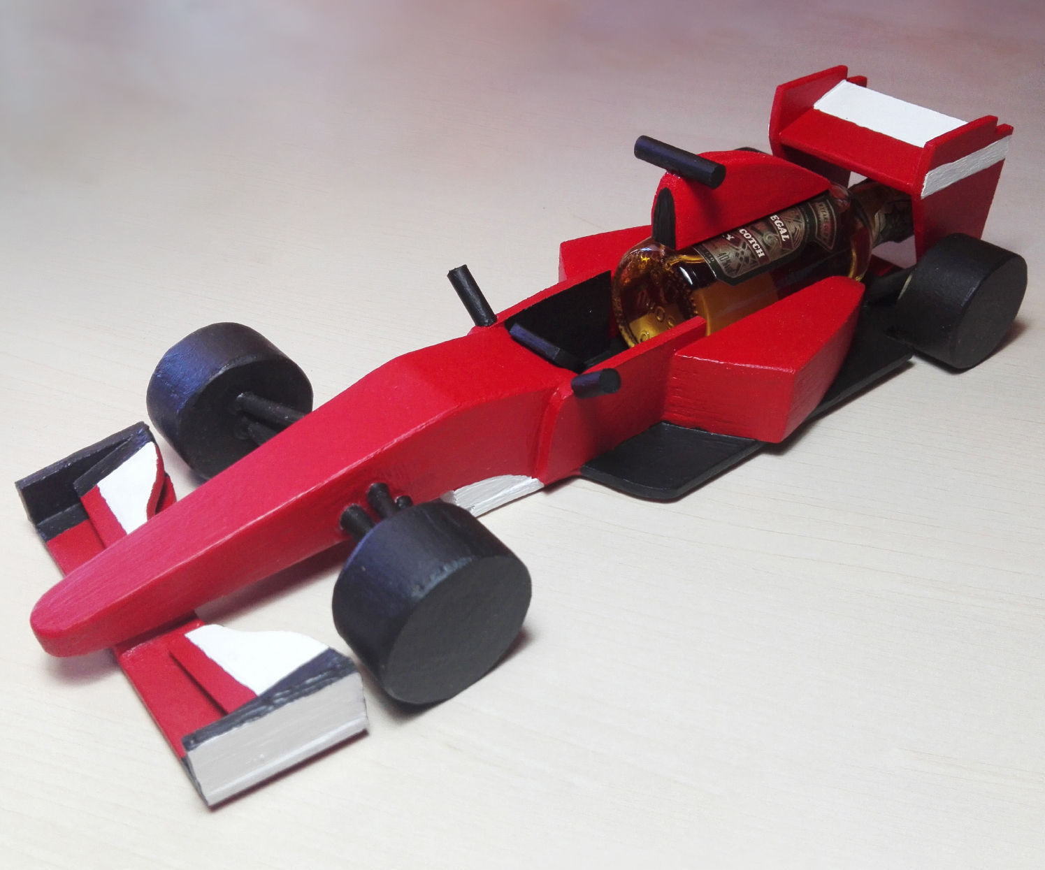 F1 Car With Miniature Bottle From Scrap Pieces