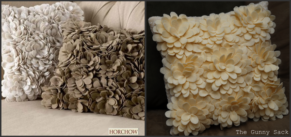 Knockoff Delancy Felt Petal Pillow From Horchow