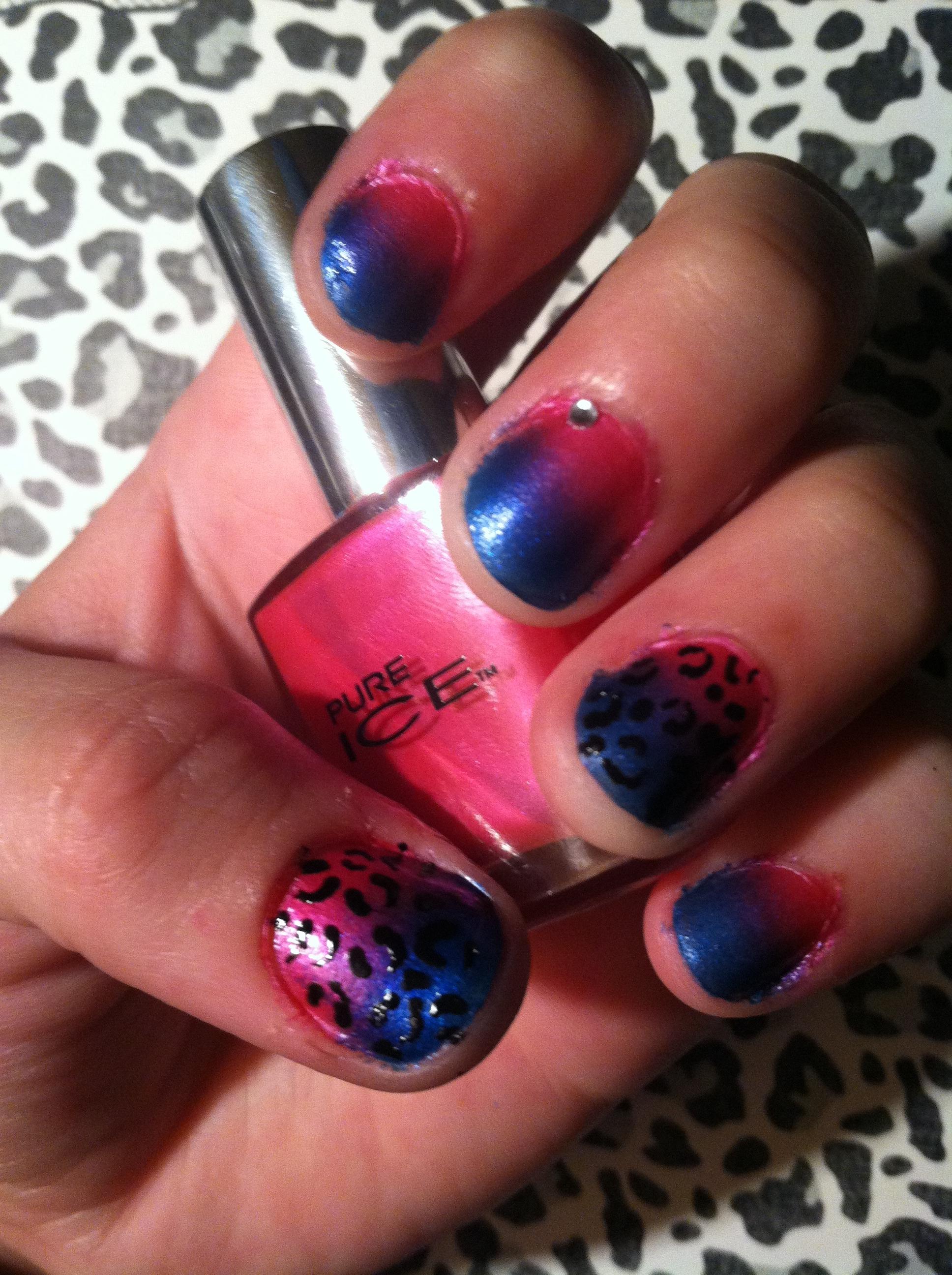 DIY Ombré Cheetah-print Nails :3