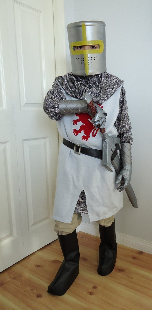 DIY Youth Knight Costumes With Helmet, Sword,  and Gauntlets