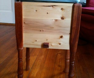 Footstool With Hidden Sliding Storage Compartment