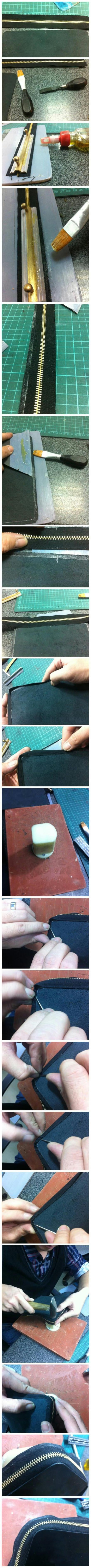 Glue Zipper on Lining, This Is a Very Skillful Work by Hand, Here Let Me Show You a Long Picture for Teaching How to Glue Zipper.