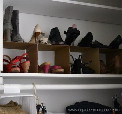 DIY Cardboard Shoe Organizer