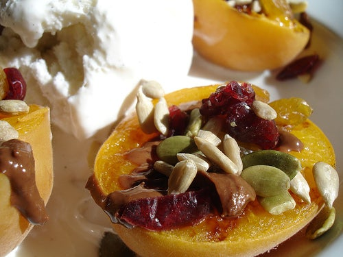 Grilled Apricots, Melted Chocolate, Nuts and Fruits, Vanilla Icecream