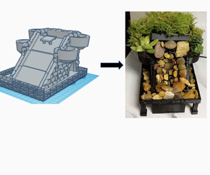 Waterfall Planter Designed in Tinkercad