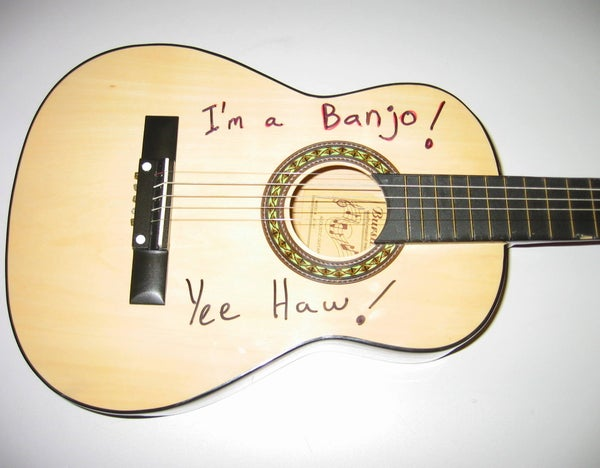 "$25 Drugstore ""Student Guitar"" Becomes STEALTH BANJO"